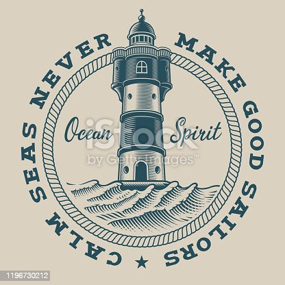 Vintage nautical emblem with a lighthouse on white background