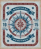 Vintage nautical heritage typography, t-shirt and label graphics with compass rose. Editable EPS10 vector illustration in woodcut style.