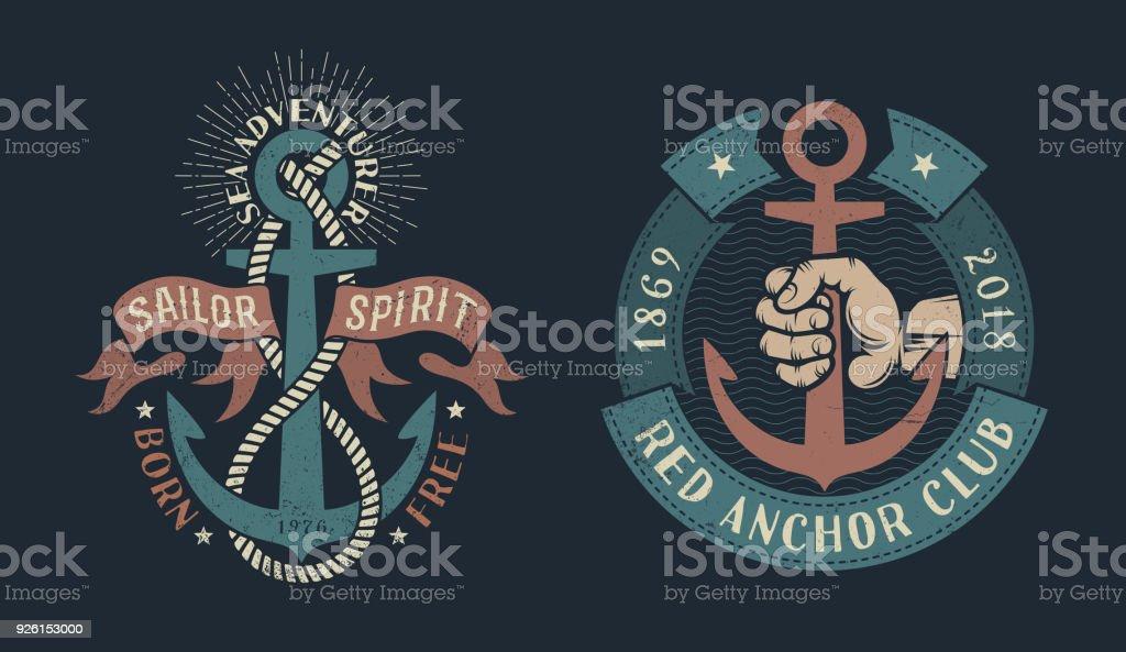 Vintage nautische Symbole – Vektorgrafik