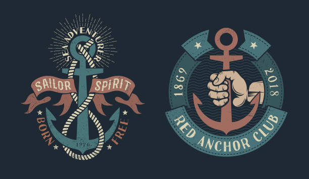 vintage nautical icons vector art illustration