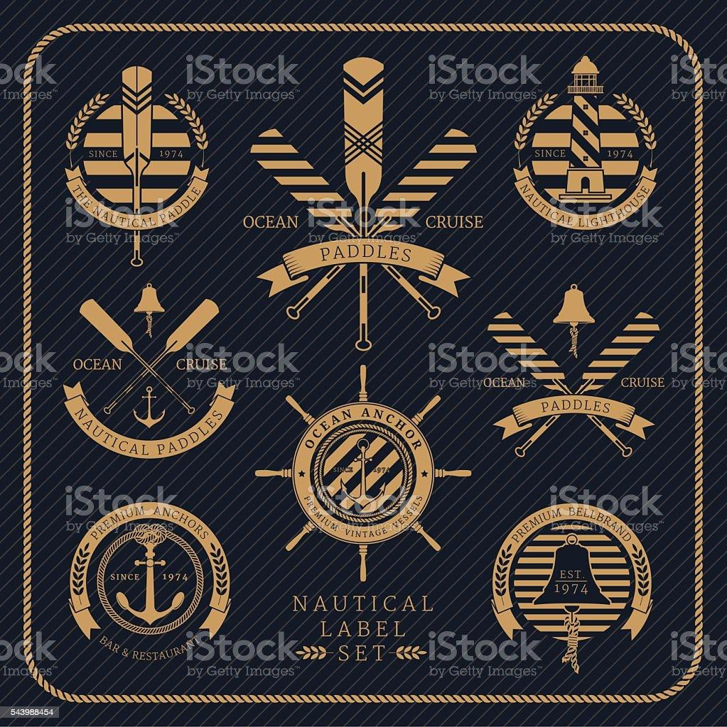 Vintage nautical label set on dark striped background vector art illustration