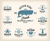 Vintage Nautical Labels or Design Elements With Retro Textures and