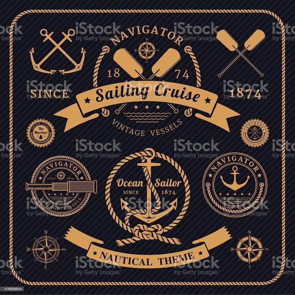 Vintage nautical labels set on dark background vector art illustration