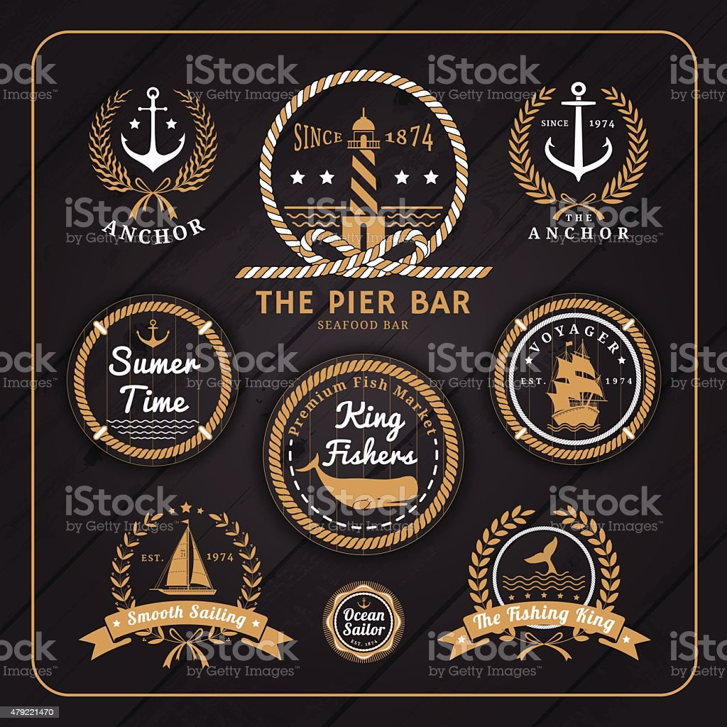 Vintage nautical labels set on dark wood background vector art illustration