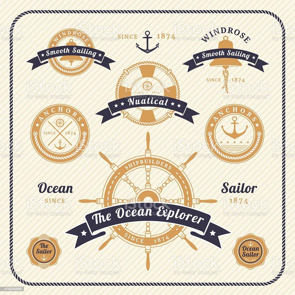 Vintage nautical labels set on light background vector art illustration