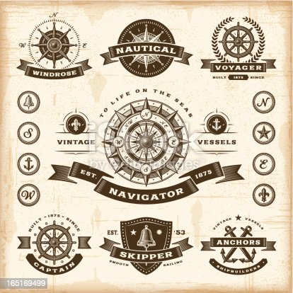 A set of fully editable vintage nautical labels and badges in woodcut style. EPS10 vector illustration. Includes high resolution JPG.