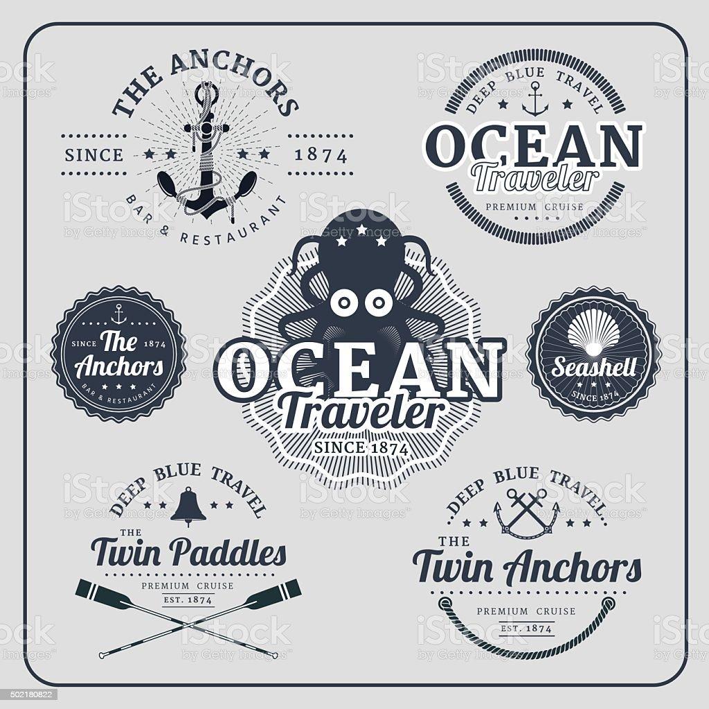 Vintage nautical labels vector set vector art illustration