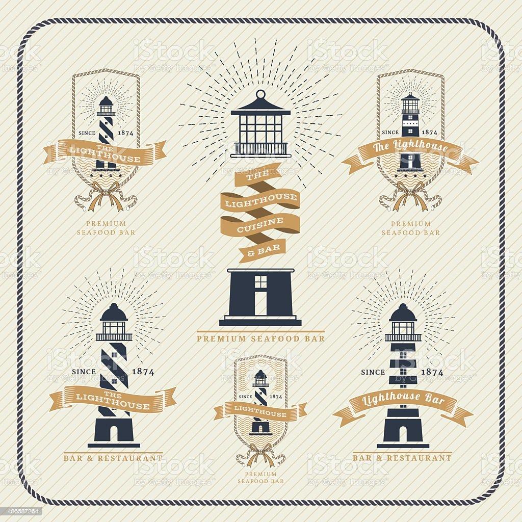 Vintage nautical lighthouse and ribbon labels set vector art illustration