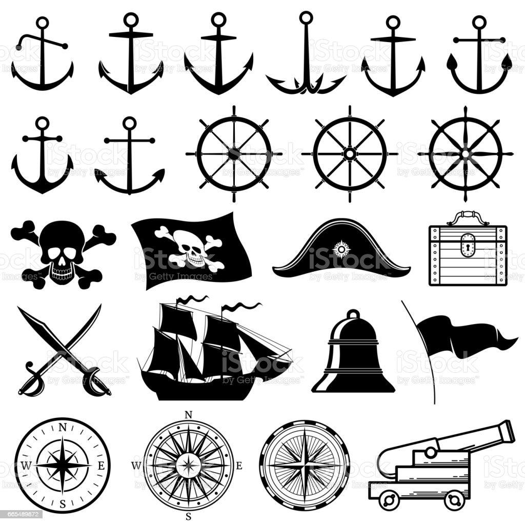 Vintage nautische, marine, Marine, Piraten-Vektor-icons – Vektorgrafik