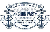 Vintage nautical poster with hands holding ship anchors and a frame of rope with inscriptions inside. Retro Marine Concept. Worn effect on separate layer and can be disabled.