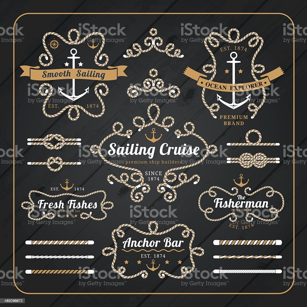 vintage nautical rope frame labels set on dark wood background royalty free stock vector art - Nautical Picture Frame