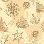 Vintage nautical seamless pattern. Hand drawing marine old sketch adventure travel manuscript vintage sailing wallpaper vector texture
