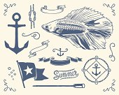 Variety of nautical vintage illustration. Use this stuff everywhere you need nautical atmosphere.