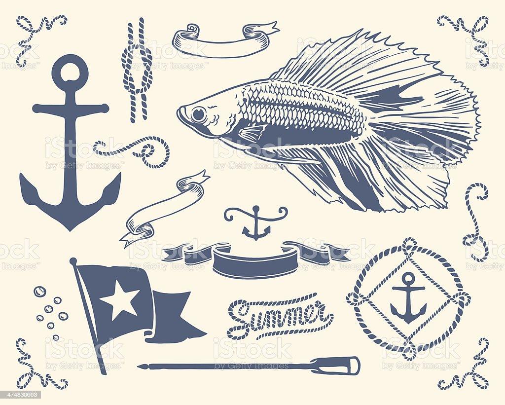 Ensemble nautique Vintage - Illustration vectorielle