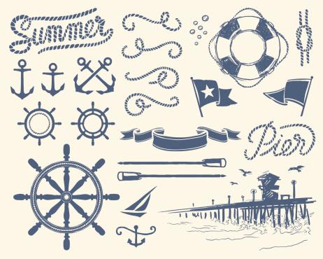 Set of isolated nautical items