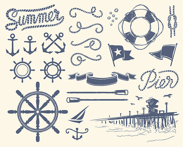 Vintage nautical set vector art illustration