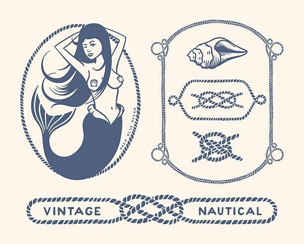 vintage nautical set - mermaid tattoos stock illustrations, clip art, cartoons, & icons