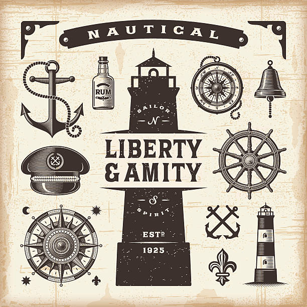 Vintage nautical set A set of fully editable vintage nautical objects in woodcut style. EPS10 vector illustration. Includes high resolution JPG. uniform cap stock illustrations