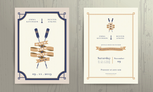Vintage nautical twin paddles ribbon wedding invitation card template