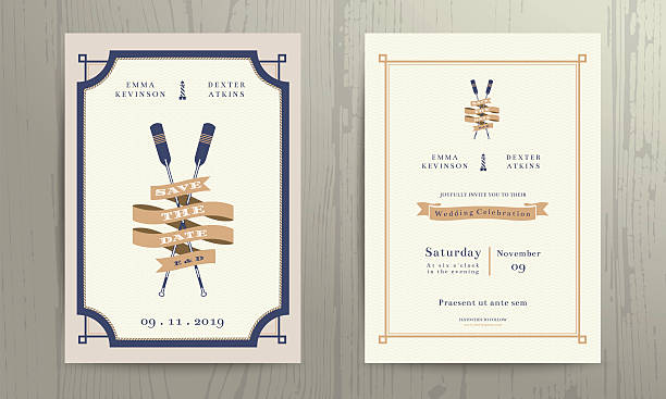 Vintage nautical twin paddles ribbon wedding invitation card template vector art illustration