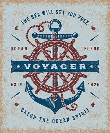 Vintage Nautical Voyager Typography