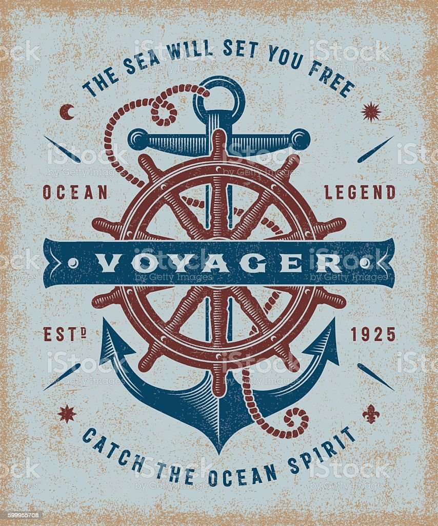 Vintage Nautical Voyager Typography vector art illustration