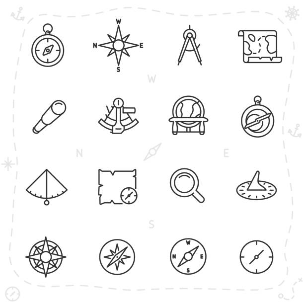 vintage navigation and measuring devices for seafarer, icon set. compass, astrolabe, sextant and others, linear icons. line with editable stroke - compass stock illustrations