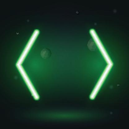 Vintage neon electro direction, two green neon arrows