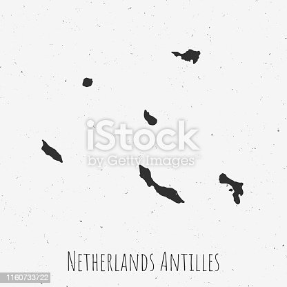 Black and white Netherlands Antilles map in trendy vintage style, isolated on a dusty white background. A grunge texture is used to have a retro and worn effect. His name is written on the bottom of the image. Vector Illustration (EPS10, well layered and grouped). Easy to edit, manipulate, resize or colorize.