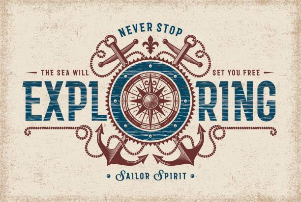 Vintage Never Stop Exploring Typography vector art illustration