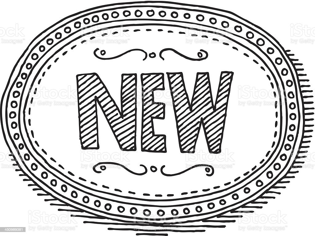 Vintage New Label Oval Drawing royalty-free stock vector art