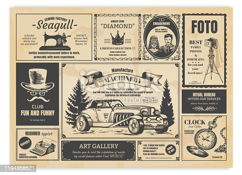 istock Vintage newspaper advertising. Newsprint labels with retro fonts, frames and old illustrations. Vector realistic press advertising 1194958521