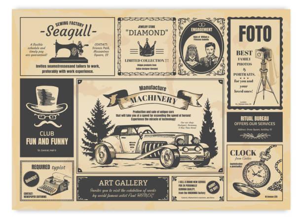 빈티지 신문 광고입니다. 복고풍 글꼴, 프레임 및 오래된 그림이 있는 신문 인쇄 레이블입니다. 벡터 사실적인 언론 광고 - 오래된 stock illustrations