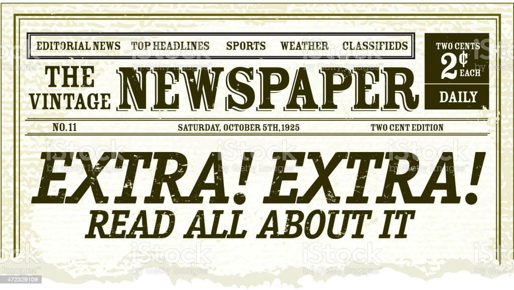 Vintage Newspaper clipping design vector art illustration