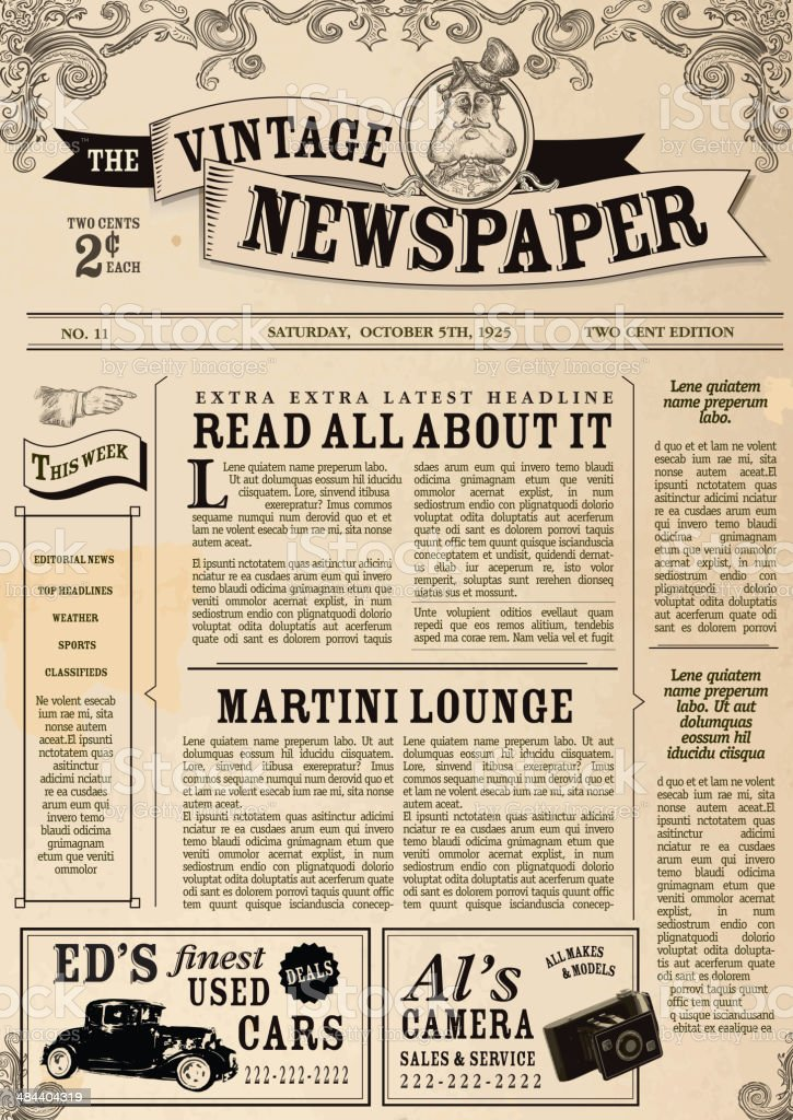 Vintage newspaper layout design template stock vector art for Old fashioned newspaper template free