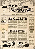 Vector illustration of a front page of an old newspaper. Use this layout template to design your own custom newspaper. Includes sample masthead, text headlines and copy. Also includes design elements such as vintage automobile, hand pointing, Steampunk man, scrolls and vintage camera. Very textured and rough background. Separate layers for easy editing.
