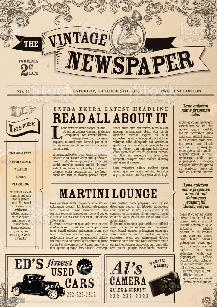 Vintage Newspaper layout design template vector art illustration