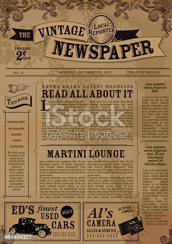 vintage newspaper layout design template stock vector art more images of advertisement. Black Bedroom Furniture Sets. Home Design Ideas