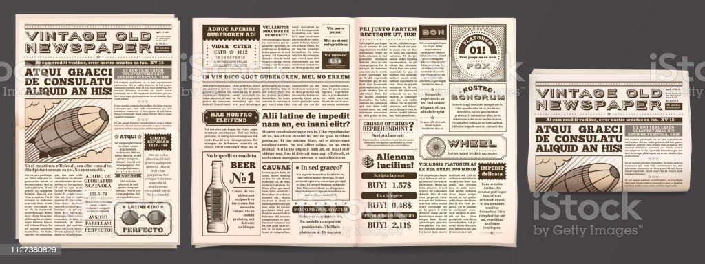 Vintage newspaper mockup. Retro newsprint pages, tabloid magazine and old news isolated 3D vector template vintage newspaper mockup retro newsprint pages tabloid magazine and old news isolated 3d vector template - immagini vettoriali stock e altre immagini di album di ritagli royalty-free