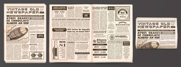 illustrazioni stock, clip art, cartoni animati e icone di tendenza di vintage newspaper mockup. retro newsprint pages, tabloid magazine and old news isolated 3d vector template - newspaper paper
