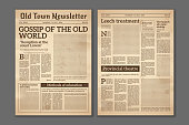 Vintage newspaper. News articles newsprint magazine old design. Brochure newspaper pages with headline. Paper retro journal vector grunge template