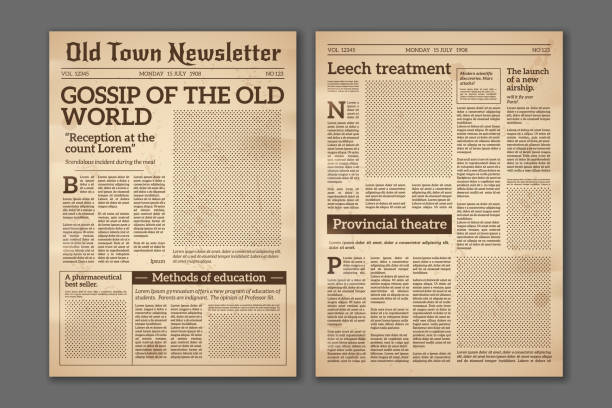 Vintage newspaper. News articles newsprint magazine old design. Brochure newspaper pages. Paper retro journal vector grunge template Vintage newspaper. News articles newsprint magazine old design. Brochure newspaper pages with headline. Paper retro journal vector grunge template newspaper stock illustrations