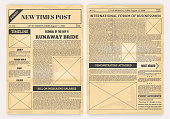 Vintage newspaper. Old realistic pages with headers and place for pictures, retro article layout. Vector illustration background text print page with newsprint media