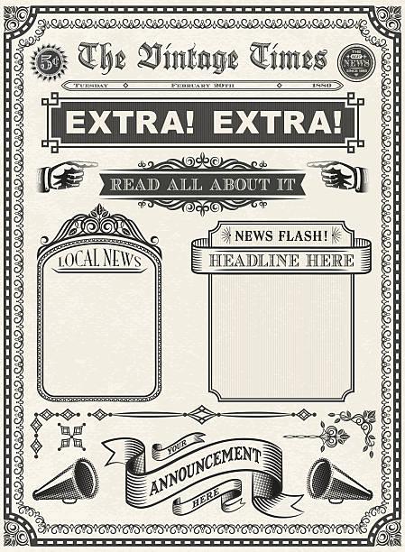 Vintage Newspaper Vector Art Illustration