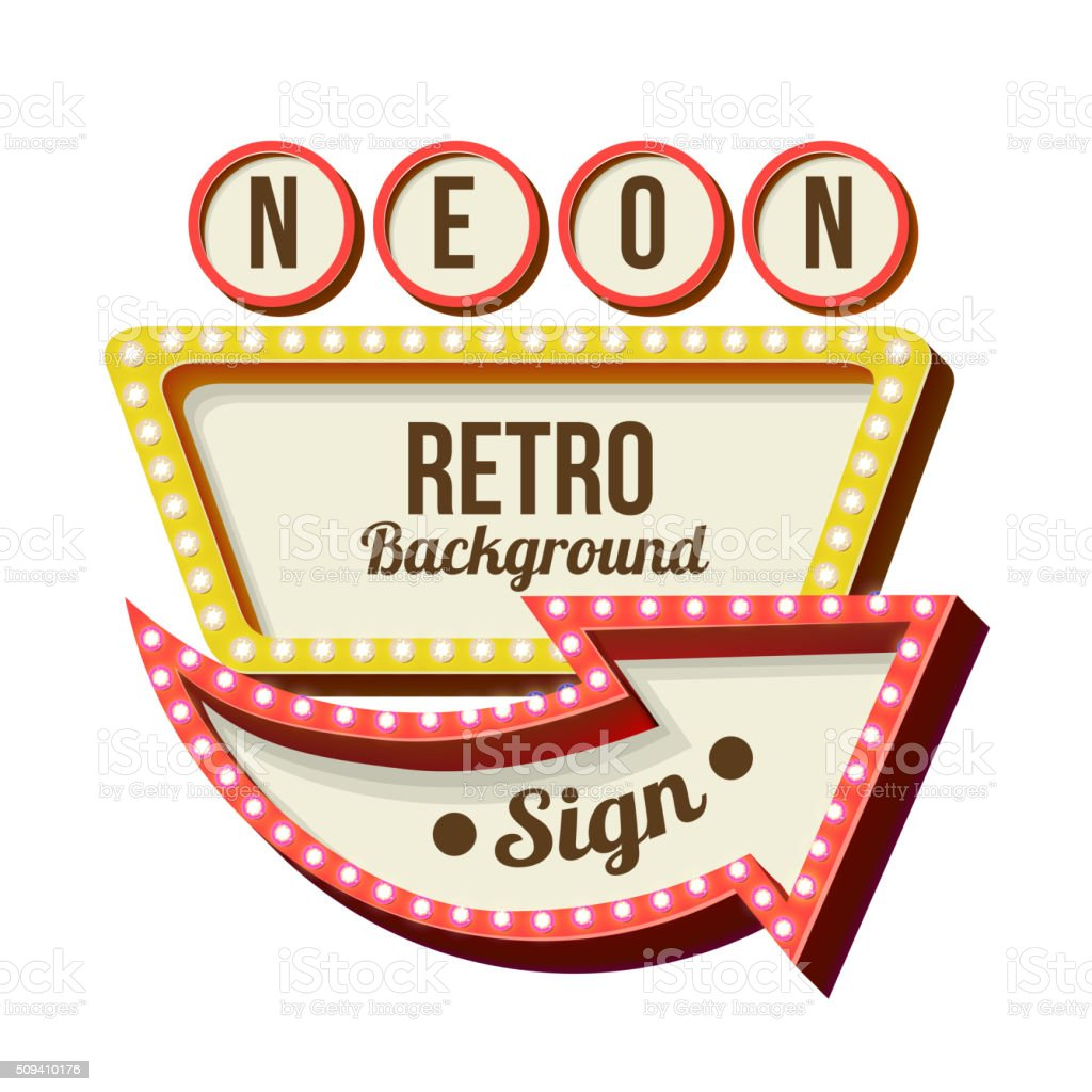 Vintage Night 3D advertising sign vector art illustration