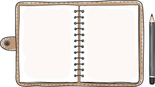 bildbanksillustrationer, clip art samt tecknat material och ikoner med vintage notebook anteckningsboken och svart penna vektor konst illustration - dagbok