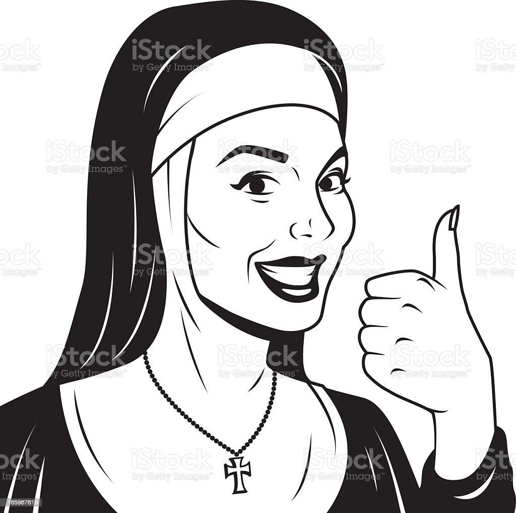 Vintage monja dando el pulgar's Up - ilustración de arte vectorial