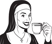 A vintage styled nun holding a mug of coffee.