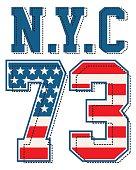 vintage nyc 73 , tshirt graphic vectors