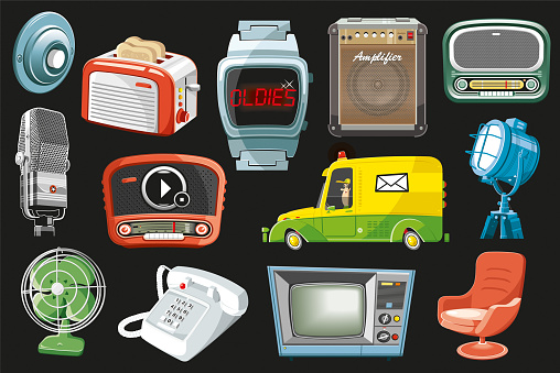 Vintage objects set (vector)